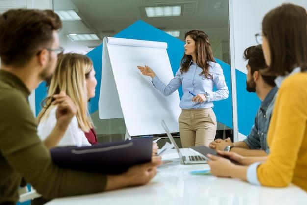 Pewny siebie młody lider zespołu, który przedstawia prezentację grupie młodych kolegów, którzy siedzą zgrupowani przy biurku w tablicy