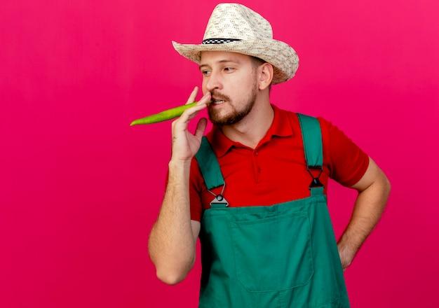 Pewny siebie młody przystojny ogrodnik słowiański w mundurze i kapeluszu trzymający pieprz w ustach udaje, że pali, patrząc w bok, trzymając rękę na talii