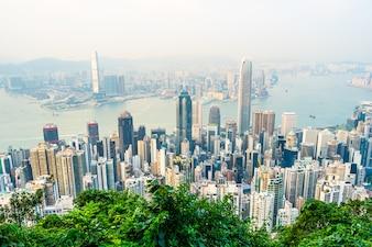 Pięknej architektury budynku zewnętrzny pejzaż miejski Hong kong miasta linia horyzontu