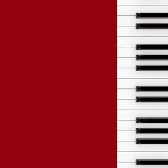 Piano keyboard zbliżenie na czerwonym tle. renderowanie 3d