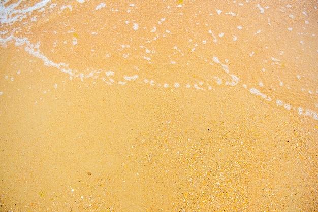 Piasek i fala na tle plaży zostaw trochę miejsca w lewym dolnym rogu na tekst i