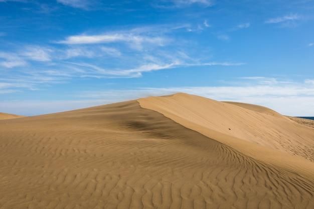 Piasek na wydmach maspalomas, małej pustyni na gran canarii w hiszpanii. piasek wiejący wiatr na szczycie wzgórza.