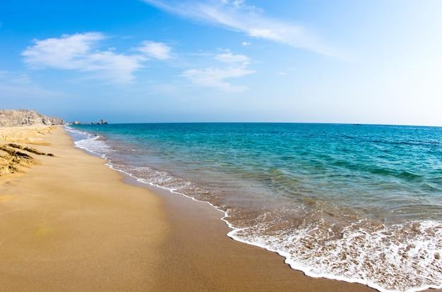 Piaszczysta plaża i błękitne niebo