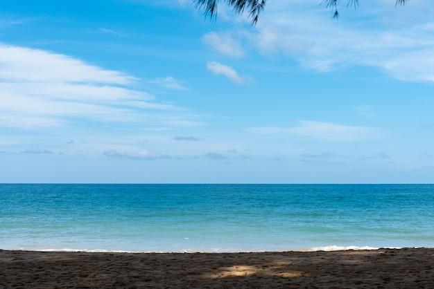 Piaszczysta plaża w cieniu drzew z dziennym morzem i niebieskim niebem