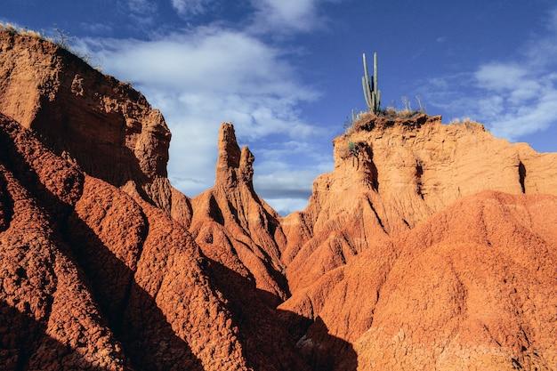 Piaszczyste skały i dzikie rośliny na pustyni tatacoa w kolumbii pod zachmurzonym niebem