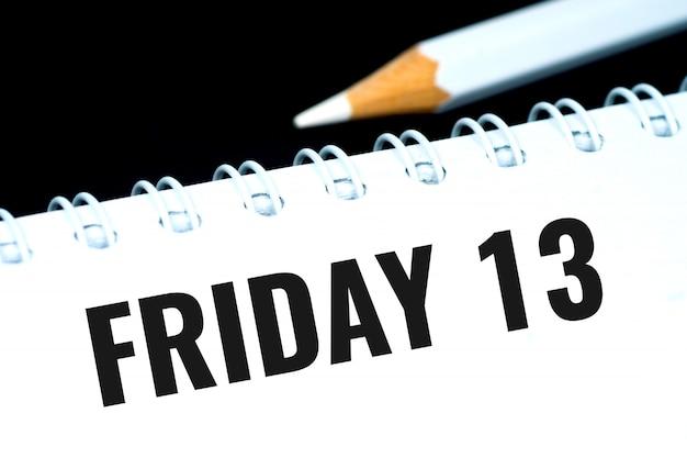 Piątek 13, czarny tekst w osobistym organizatorze