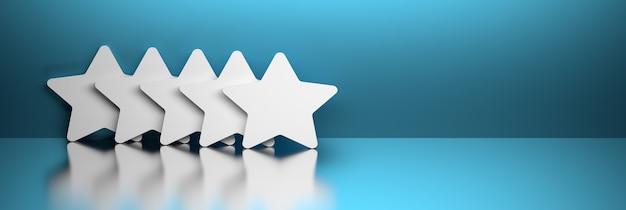 Pięć białych dużych ułożonych gwiazd na niebieskim tle biały sztandar z ilustracją 3d pustej przestrzeni
