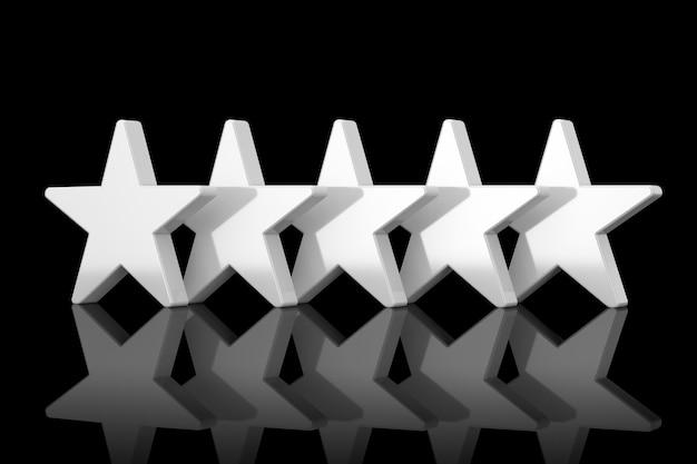 Pięć białych gwiazd z odbiciami w stylu gliny na czarnym tle. renderowanie 3d
