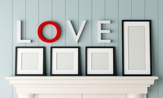 Pięć czarnych pustych ramek do zdjęć umieszczonych na kominku z napisem love na ścianie w pastelowym niebieskim pokoju z drewna.