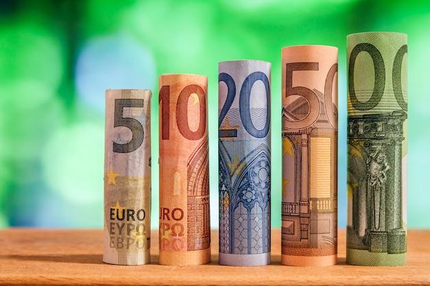 Pięć, dziesięć, dwadzieścia, pięćdziesiąt i sto euro banknotów walcowanych na zielonym rozmytym bokeh