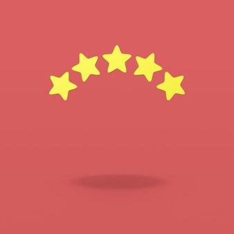 Pięć gwiazdek na czerwonym tle