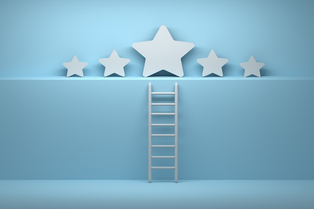 Pięć gwiazdek z drabiną w niebiesko-białych kolorach