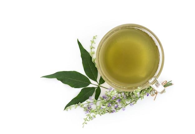 Pięć liściaste czyste drzewo lub kwiaty vitex negundo i sok z zielonych liści w filiżance herbaty na białym tle