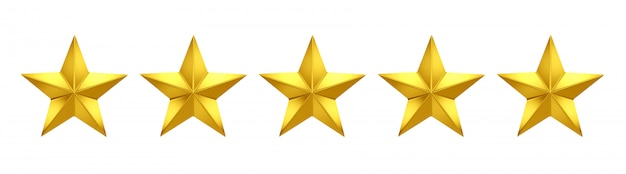 Pięć na pięć gwiazdek. pięć złotych gwiazd