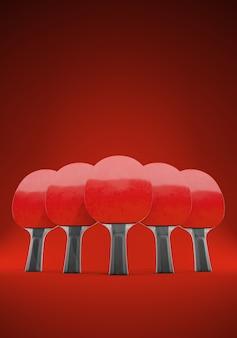 Pięć rakiet do gry w tenisa stołowego lub ping-ponga na czerwonym tle. 3d ilustracji. z przestrzenią. koncepcja zespołu.