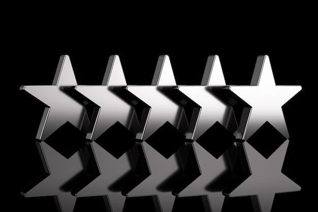 Pięć srebrnych gwiazdek z odbiciami na czarnym tle. renderowanie 3d
