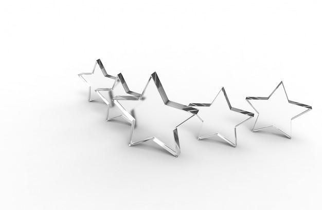 Pięć szklanych gwiazd na białym tle