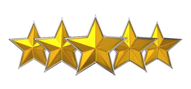 Pięć złotych gwiazd na białym tle. koncepcja nagrody.