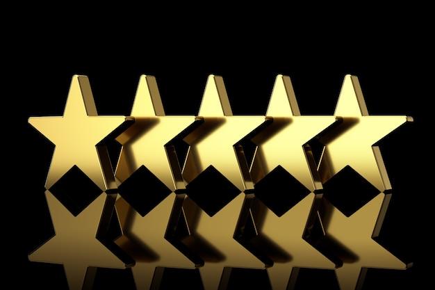 Pięć złotych gwiazd z odbiciami na czarnym tle. renderowanie 3d