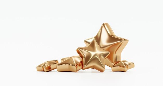 Pięć złotych gwiazdek przegląd jakości obsługi klienta doskonała koncepcja opinii na białym tle na tle najlepszej oceny zadowolenia z symbolem ikony rankingu płaska konstrukcja. renderowanie 3d.