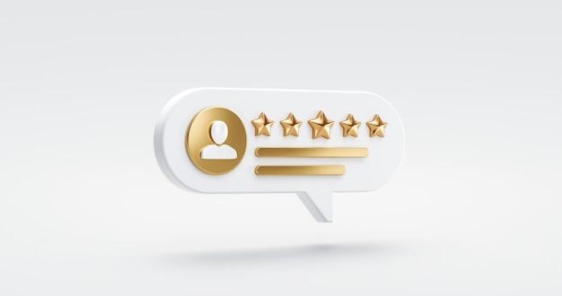 Pięć złotych gwiazdek przegląd jakości obsługi klienta doskonała koncepcja opinii na tle najlepszej oceny zadowolenia z symbolem ikony rankingu płaska konstrukcja. renderowanie 3d.
