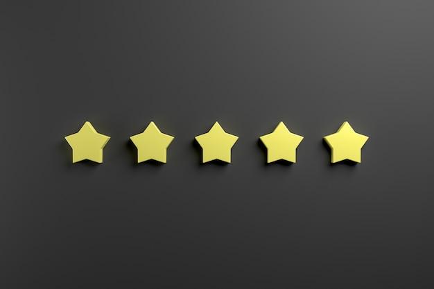 Pięć żółtych gwiazdek na niebieskim tle. renderowanie 3d.