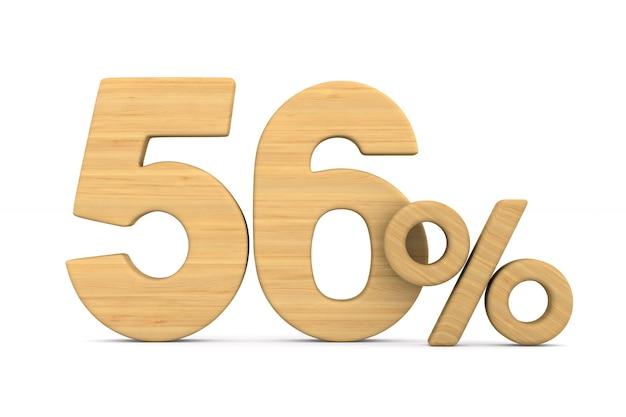Pięćdziesiąt sześć procent na białym tle.