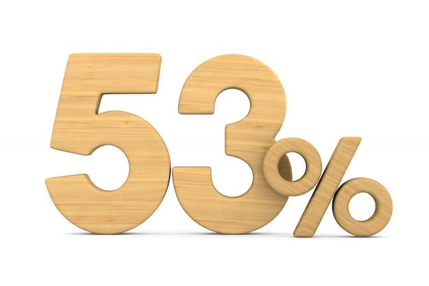 Pięćdziesiąt trzy procent na białym tle.