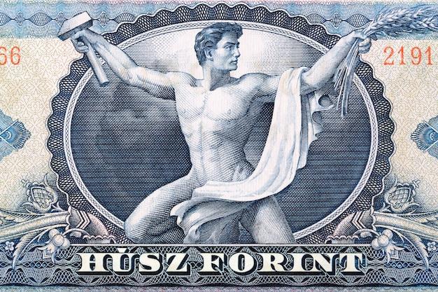 Pięciobójca csaba hegedus z młotkiem ze starych węgierskich pieniędzy