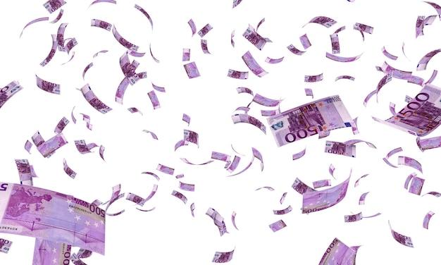 Pięćset banknotów 500 euro spadających na białym tle