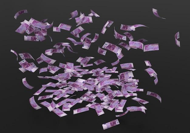 Pięćset banknotów 500 euro spadających na czarnym tle