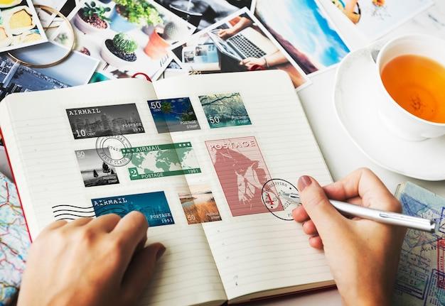 Pieczęć post korespondencja komunikacja memories concept