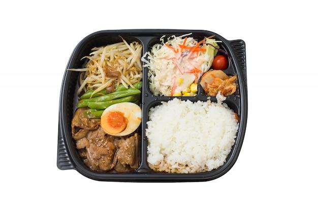 Pieczona wieprzowina bento - japoński styl żywności