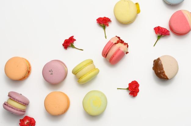 Pieczone makaroniki o różnych smakach i pączkach róży na białym tle, widok z góry