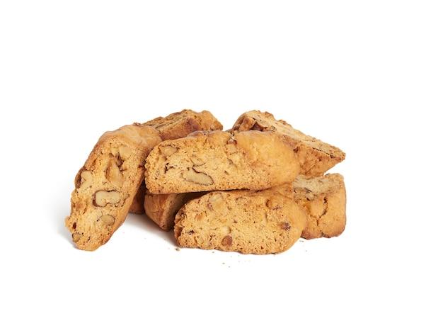 Pieczone włoskie biscotti migdałowe, ciasteczka cantuccini
