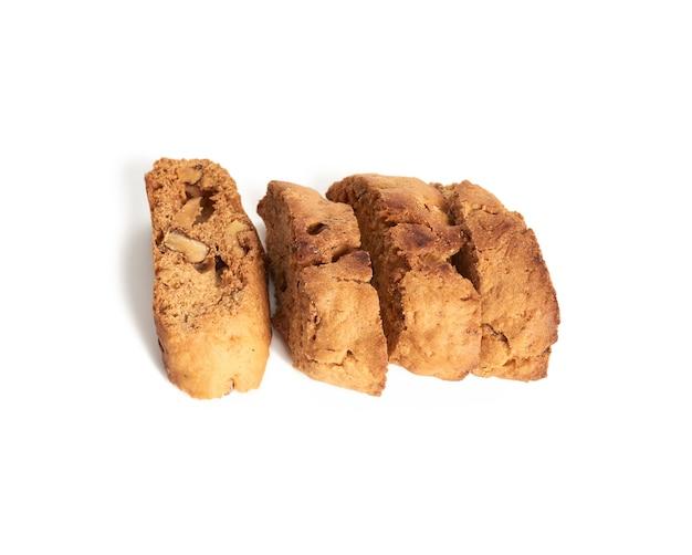 Pieczony kawałek migdałowych ciasteczek biscotti cantuccini