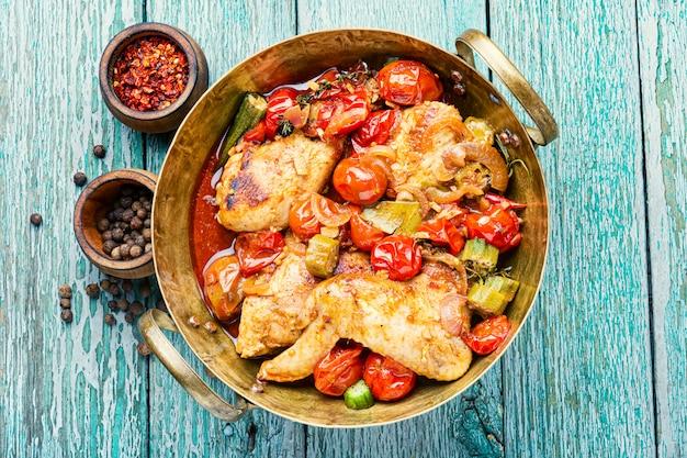 Pieczony kurczak w warzywach