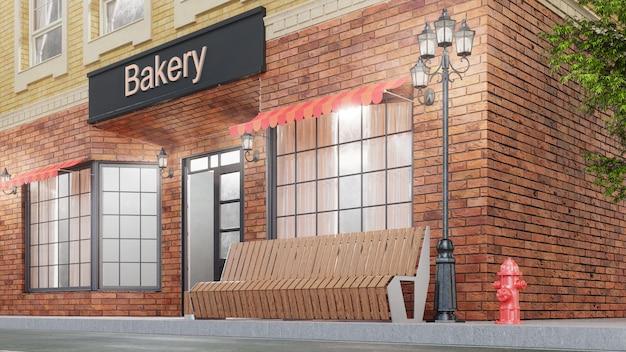 Piekarnia lub sklep. na zewnątrz budynku przy drodze