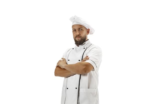 Piekarz kucharz kucharz w mundurze na białym tle smakosz