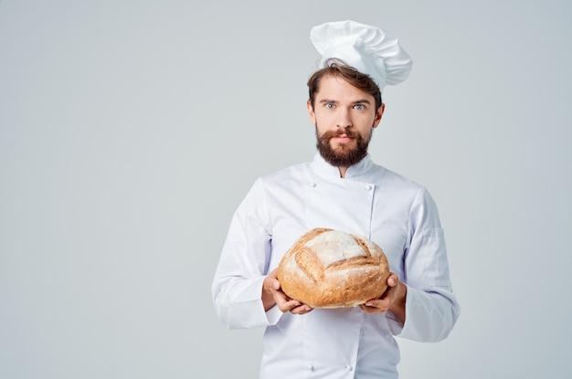 Piekarz kuchnia praca produkty piekarnicze na białym tle