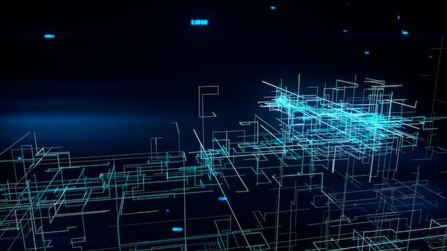 Piękna 3d ilustracja globalnej sieci cyfrowej dorośnięcie z liczb latać. pomysł na biznes.