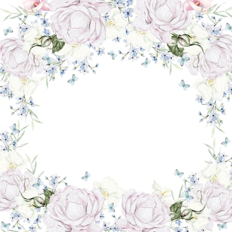 Piękna akwarelowa ramka z białymi różami na białym tle