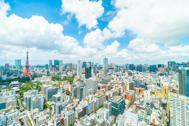 Piękna architektura budynku w panoramę miasta tokio