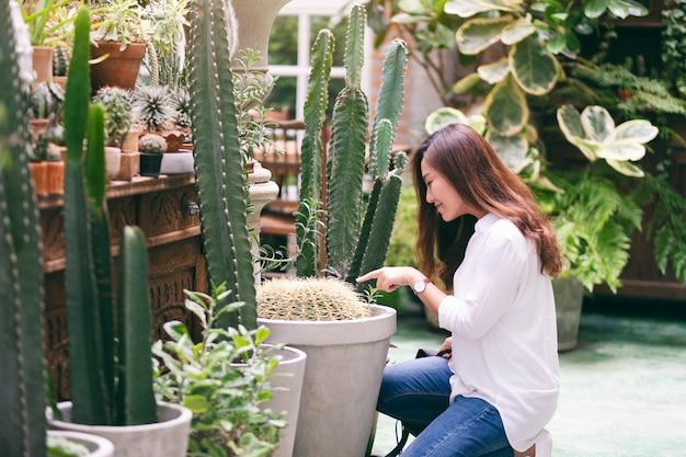 Piękna azjatka wskazująca i opiekująca się kaktusem w szklarni
