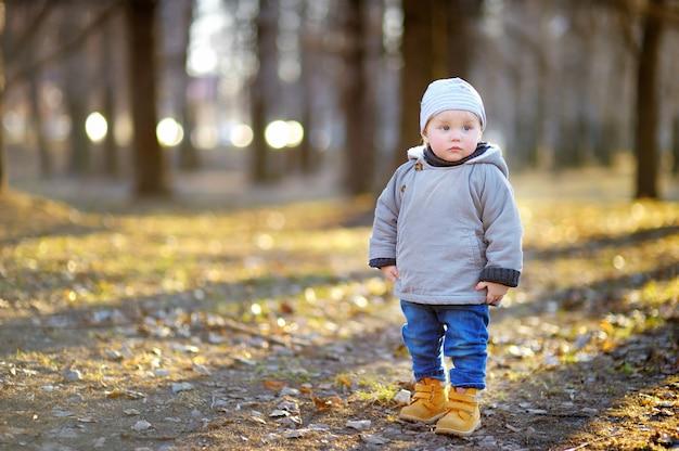 Piękna berbeć chłopiec chodzi outdoors przy ciepłym wiosna dniem