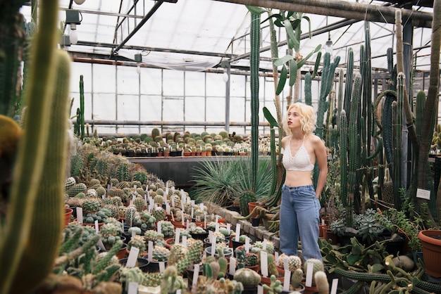 Piękna blondynki kobieta spaceru w kaktus i sukulenty