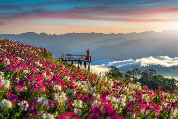 Piękna dziewczyna ciesząca się polami kwiatów i punktem widokowym wschodu słońca w prowincji tak