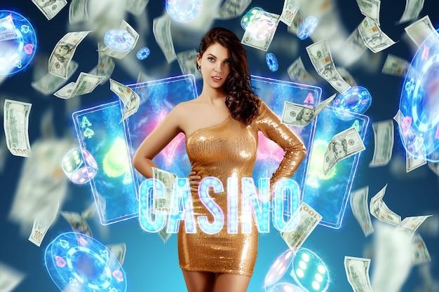 Piękna dziewczyna na tle atrebutyków kasyna i spadających dolarów. wygrywanie, szablon reklamy kasyna, hazard, gry vegas, zakłady.
