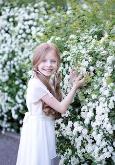 Piękna dziewczyna o blond długich włosach w białej delikatnej jedwabnej sukience, na tle kwitnących białych wiosennych kwiatów, trzyma kwiatek, słodko się uśmiecha i patrzy w ramkę