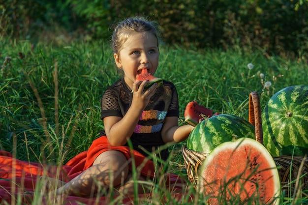 Piękna dziewczyna siedzi na łące z arbuzami. słodkie małe dziecko jedzenie arbuza, siedząc na trawie. transparent